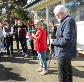 Dr Matilda House, with Ken Heffernan, addressing staff & students from the ANU College of the Arts & Society